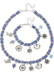 Schmuckset Kette +Armband Oktoberfest, bpc bonprix collection, silberfarben/blau