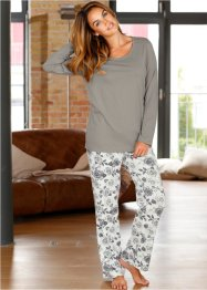 Pyjama, bpc bonprix collection, grau/weiß