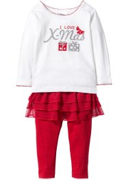 Baby Langarmshirt  + Leggings mit Tutu (2-tlg. Set) Bio-Baumwolle, bpc bonprix collection, wollweiß/rot