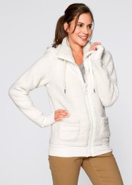 Basic Fleece-Jacke, bpc bonprix collection, wollweiß
