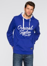 Sweatshirt mit Kapuze und Druck Regular Fit, bpc bonprix collection, saphirblau