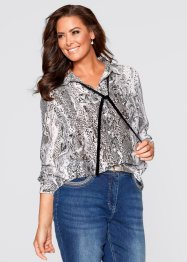 Bluse mit Band, bpc selection, schlange grau