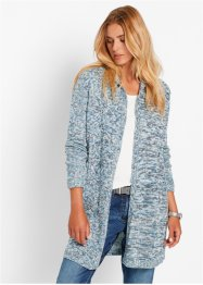 Langarm-Longstrickjacke, bpc bonprix collection, graublau meliert