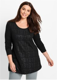 Pailletten Long-Shirt, bpc bonprix collection, schwarz
