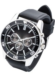 Silikonarmbanduhr für Herren in Chrono-Optik, bpc bonprix collection, schwarz