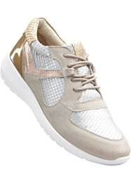 Ledersneaker, bpc bonprix collection, altrosa/silber