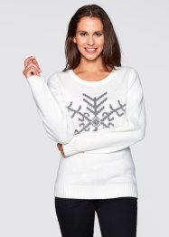 Rundhals-Pullover, bpc bonprix collection, wollweiß gemustert