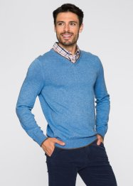 Pullover mit Hemdkragen Regular Fit, bpc selection, hellblau meliert