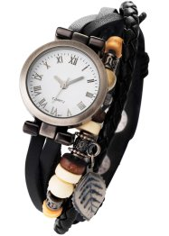 Leder-Armbanduhr Toska, bpc bonprix collection, schwarz