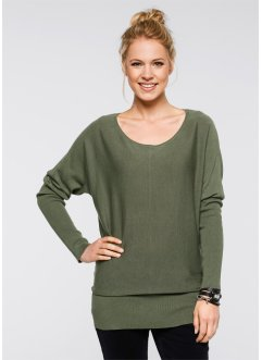 Oversize-Pullover, bpc bonprix collection, oliv