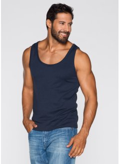 Tanktop (2er-Pack) Regular Fit, bpc bonprix collection, dunkelblau+weiss