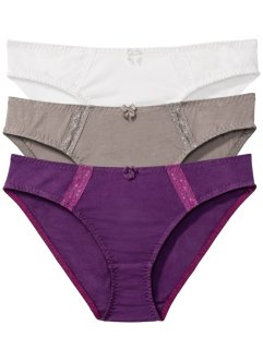 Slip (3er-Pack), bpc bonprix collection, beere + taupe + wollweiß