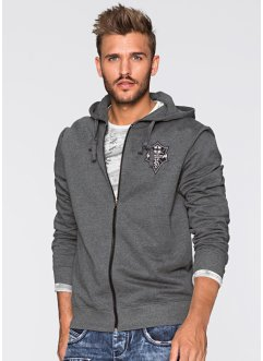 Sweatjacke Slim Fit, RAINBOW, anthrazit meliert