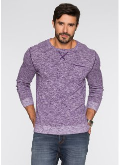 Pullover Regular Fit, bpc bonprix collection, weinbeere/weiß meliert