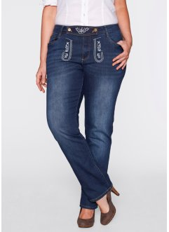 Trachtenjeans mit Stickerei, gerades Bein, bpc bonprix collection, dark denim