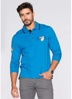 Langarmpoloshirt Regular Fit, bpc selection, capriblau