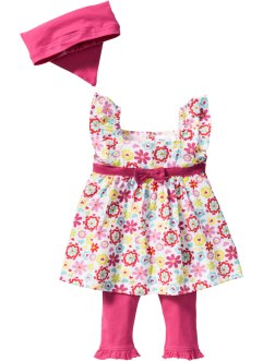 Baby Kleid + Leggings + Tuch (3-tlg.) Bio-Baumwolle, bpc bonprix collection, weiß/dunkelpink
