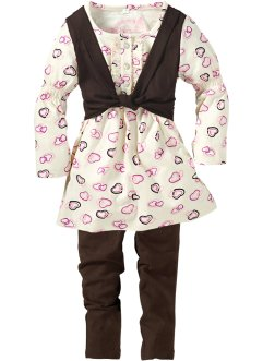 Kleid+Leggings (2-tlg. Set), bpc bonprix collection, dunkelbraun/cremeweiss