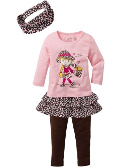 Shirt+Rock+Leggings Set (4-tlg. Set), bpc bonprix collection, puderrosa/dunkelbraun Leo gemustert
