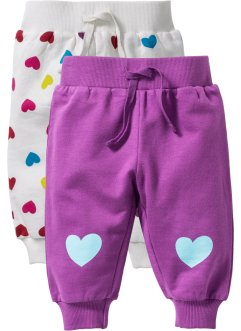 Baby-Sweathose (2er-Pack) Bio-Baumwolle, bpc bonprix collection, wollweiß/beere