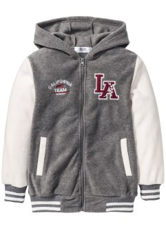 Fleece Baseball Jacke, bpc bonprix collection, grau meliert/wollweiß