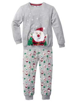 Pyjama (2-tlg. Set), bpc bonprix collection, hellgrau meliert