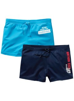Badehose Jungen (2er-Pack), bpc bonprix collection, dunkelblau/türkis