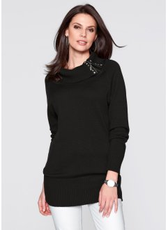 Long-Pullover, bpc selection, schwarz