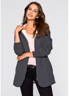 Sweatjacke mit Fleece, bpc bonprix collection, anthrazit meliert