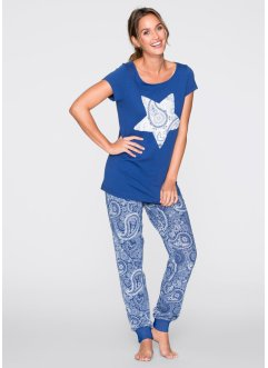 Pyjama, bpc bonprix collection, enzianblau bedruckt