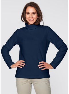 Fleece-Rollkragenshirt, bpc bonprix collection, dunkelblau