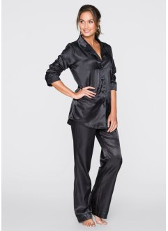 Satin-Pyjama, bpc bonprix collection, schwarz