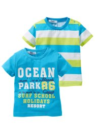 Baby T-Shirt (2er-Pack) Bio-Baumwolle, bpc bonprix collection, uni bedruckt/ gestreift