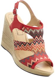 Keilsandalette, bpc bonprix collection, rot gemustert