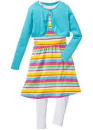 Kleid, Leggings + Bolero (3-tlg.), bpc bonprix collection, aqua/weiß gestreift