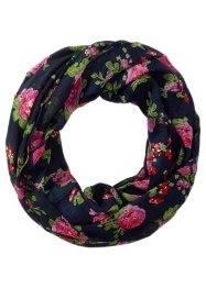 Loop mit Rosendruck, bpc bonprix collection, dunkelblau/pink