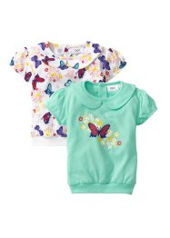 Baby-T-Shirt (2er-Pack) Bio-Baumwolle, bpc bonprix collection, hellmint/wollweiß