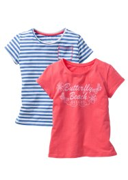 T-Shirt (2er-Pack), bpc bonprix collection, hellpink/himmelblau gestreift