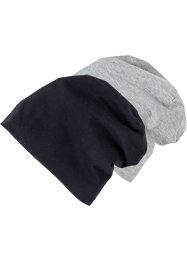 2er-Pack Beanie aus Jersey, bpc bonprix collection, schwarz + grau uni