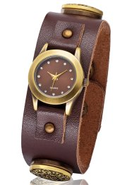 Armbanduhr Butt-On, bpc bonprix collection, braun/antikgold