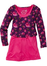 Kleid + Layershirt (2-tlg.), bpc bonprix collection, dunkelpink bedruckt