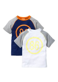 Raglan T-Shirt (2er-Pack), bpc bonprix collection, weiß/hellgrau meliert+mitternachtsblau/orange