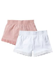 Jersey Shorts (2er-Pack), bpc bonprix collection, altrosa+weiß
