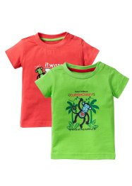 Baby-T-Shirt (2er-Pack) Bio-Baumwolle, bpc bonprix collection, hummer/knallgrün