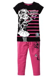 """MONSTER HIGH"" Longshirt + Caprileggings (2-tlg.), Mattel, schwarz/mediumpink"