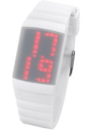 Digitale Silikon-Armbanduhr unisex, bpc bonprix collection, weiß/grau