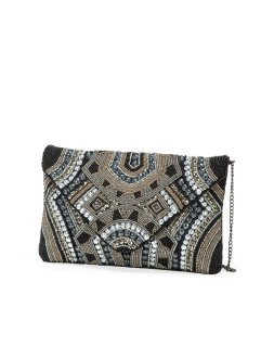 Clutch mit Perlen, bpc bonprix collection, silberfarben/schwarz/nude