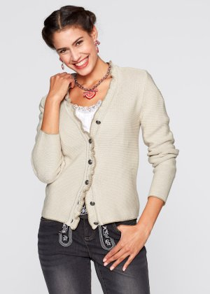 Trachten-Strickjacke mit Rüschen, bpc bonprix collection