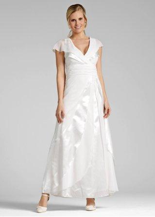 Romantisches brautkleid mit geraffter taille cremewei for Brautkleid bonprix