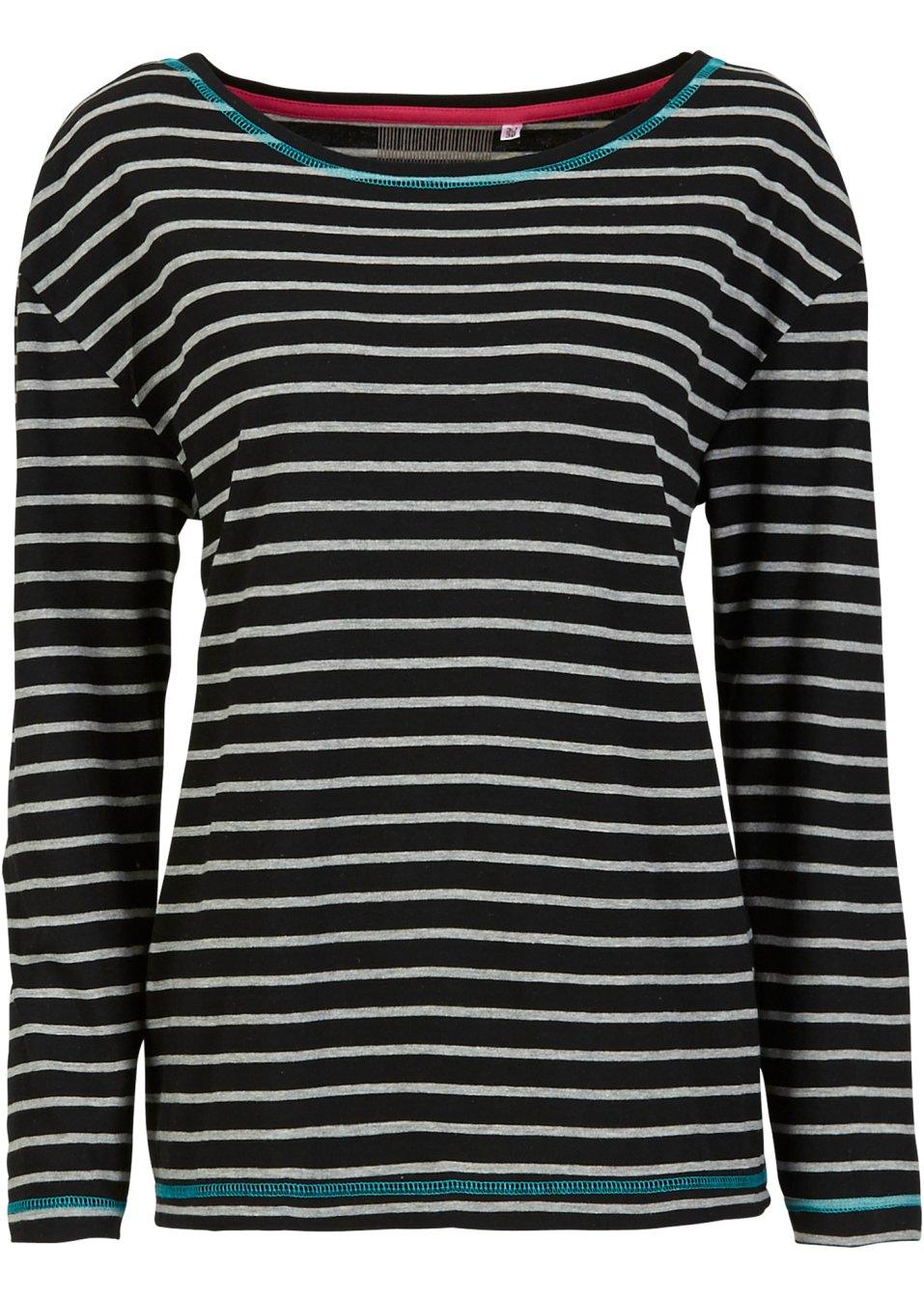 kombistarkes langarmshirt im streifendesign schwarz. Black Bedroom Furniture Sets. Home Design Ideas